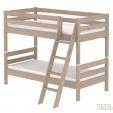 Dviaukštė lova su pasviromis kopetėlėmis