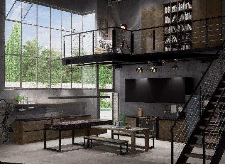 Lofto virtuvės baldai