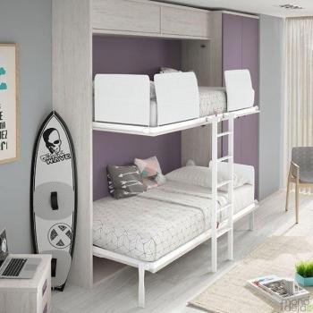 Dviaukštė lova spintoje