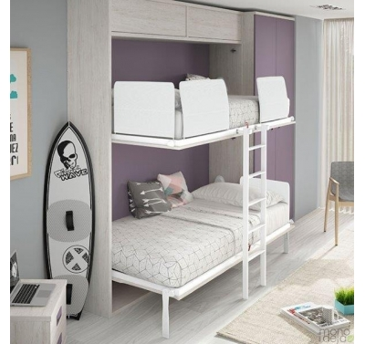 Bunk bed in wall