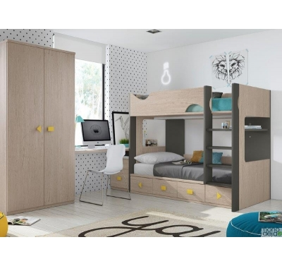 Bunk bed with 3 bed